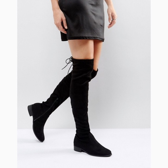 3c99abf62f Refresh Shoes | S Black Flat Tie Back Over The Knee Boot | Poshmark